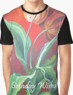 Birthday Wishes Red and Yellow Tulips Graphic T-Shirt