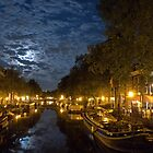 Prinsengracht in full moon light by Pim Kops