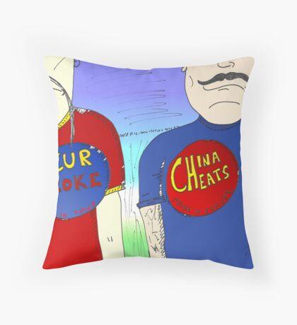 La Chine contre l'Europe en caricature Throw Pillow