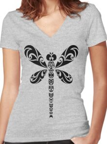 Tribal Dragonfly Tattoo Women's Fitted V-Neck T-Shirt