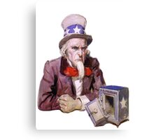 Uncle Sam with Empty Treasury Canvas Print