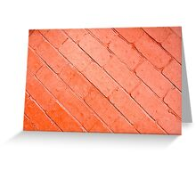 Red background of bricks on a diagonal image with a layer of paint Greeting Card