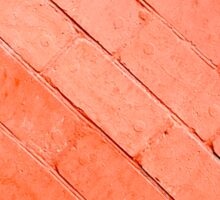 Red background of bricks on a diagonal image with a layer of paint Sticker