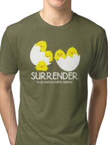 Cute evil baby chicks world domination Tri-blend T-Shirt