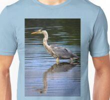 Grey Heron reflection Unisex T-Shirt