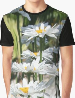 A Garden of White Daisy Flowers Graphic T-Shirt