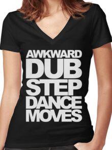 Awkward Dubstep Dance Moves (white) Women's Fitted V-Neck T-Shirt
