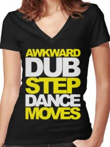 Awkward Dubstep Dance Moves (yellow/white) Women's Fitted V-Neck T-Shirt