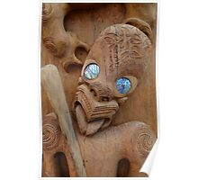 Maori wood carving with paua shell eyes Poster