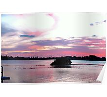 Cheery Sunset over the Water Poster