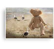 Chasing after seagulls Canvas Print