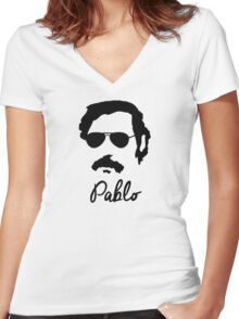 Pablo Escobar Sunglasses Women's Fitted V-Neck T-Shirt