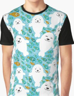 White cute fur seal and fish in water Graphic T-Shirt