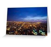 Chicago Cityscape West at Night Greeting Card