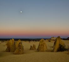 Sunrise and Dawn Moonset at the Pinnacles by Sandra Chung