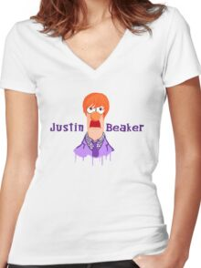 Meeper Fever. (Purple) Women's Fitted V-Neck T-Shirt