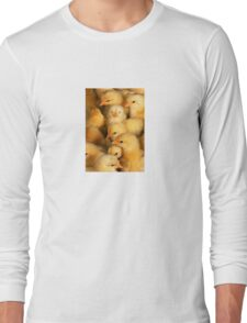Clutch of Yellow Fluffy Chicks Long Sleeve T-Shirt