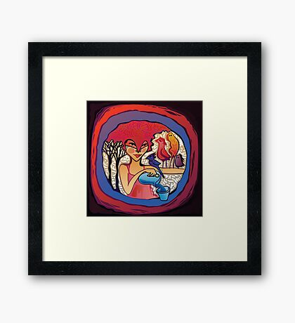 girl with birds drinking water Framed Print