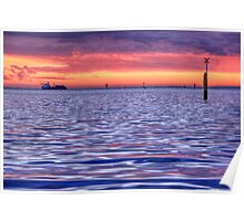 Sunset Sky & Water Colours Poster