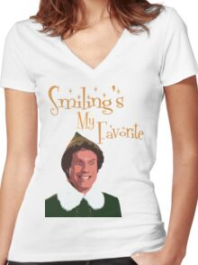 Buddy The Elf - Smiling's My Favorite Women's Fitted V-Neck T-Shirt
