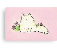 Fluffy Kitty Cat with Pink Flowers Canvas Print