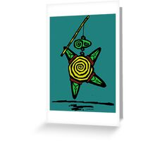 Turtle fishing and catching himself. Greeting Card