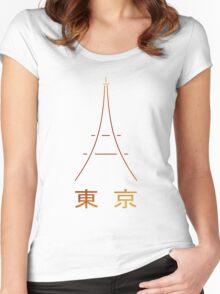 Tokyo Tower (Kanji) Women's Fitted Scoop T-Shirt