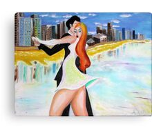 Em and Dyl Dancing on Goldy Beach Canvas Print