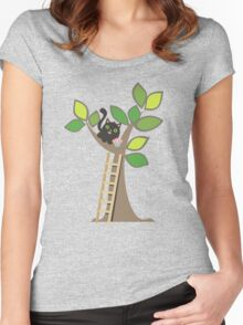 Cute kawaii cat in tree with cupcake Women's Fitted Scoop T-Shirt