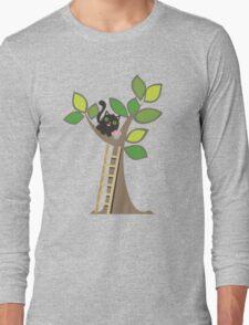 Cute kawaii cat in tree with cupcake Long Sleeve T-Shirt