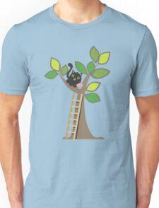 Cute kawaii cat in tree with cupcake Unisex T-Shirt