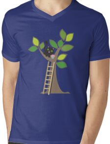 Cute kawaii cat in tree with cupcake Mens V-Neck T-Shirt