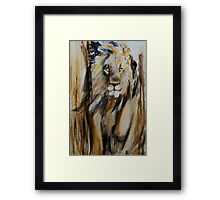 Lion Approaching Framed Print