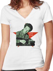 Woody Guthrie, Folk Star (Sm) Women's Fitted V-Neck T-Shirt