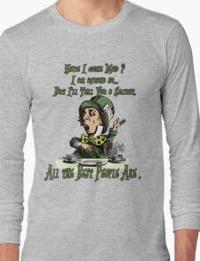 Mad Hatter,Alice in Wonderland,Madness Quote Vintage Dictionary Artwork Long Sleeve T-Shirt