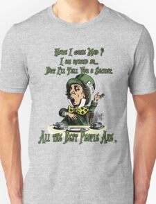 Mad Hatter,Alice in Wonderland,Madness Quote Vintage Dictionary Artwork Unisex T-Shirt