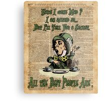 Mad Hatter,Alice in Wonderland,Madness Quote Vintage Dictionary Artwork Metal Print