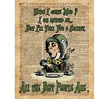 Mad Hatter,Alice in Wonderland,Madness Quote Vintage Dictionary Artwork Photographic Print