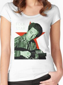 Woody Guthrie, Folk Star (Lg) Women's Fitted Scoop T-Shirt