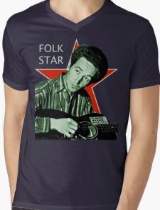 Woody Guthrie, Folk Star (Lg) Mens V-Neck T-Shirt