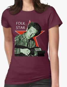 Woody Guthrie, Folk Star (Lg) Womens Fitted T-Shirt