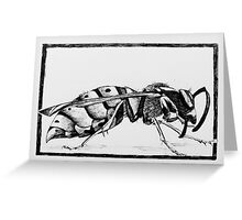 Design for wasp lino print Greeting Card