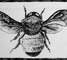 Design for bee lino print by CSSART