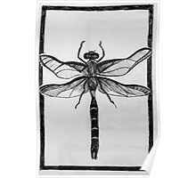 Design for dragonfly lino print Poster