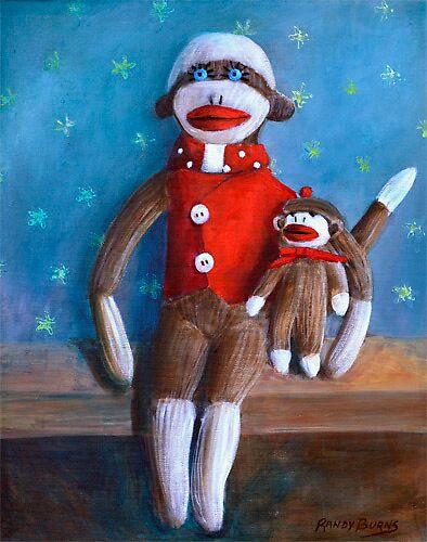 Sock Monkey Dolls (Papa and Paco) by Randy  Burns