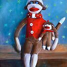 Sock Monkey Dolls (Papa and Paco) by Randy  Burns
