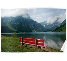 Red bench with a view Poster