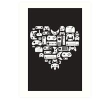 Controller Lover (White on Black) Art Print