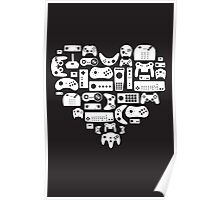 Controller Lover (White on Black) Poster
