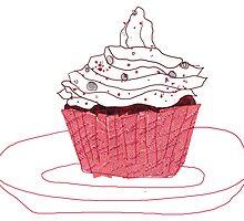 Red Velvet Vegan Cupcake by cmIllustration